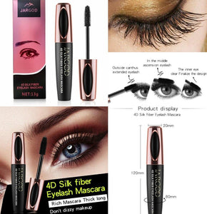4D Silk Fiber Eyelash Mascara Waterproof Long Lasting Eye Lashes - JARGOD