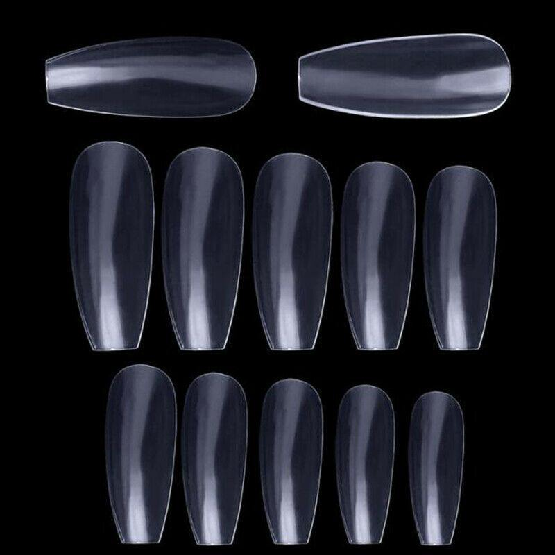 600 pcs Coffin Shape Fake Nail Tips False Nails 10 Sizes- for Nail Salons and DIY Nail Art by JARGOD (Natural)