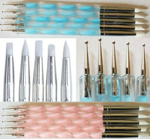 Load image into Gallery viewer, 5Pcs 2 Way Nail Art Silicone Tip Pen Brushes Dotting Tools Marbleizing Painting