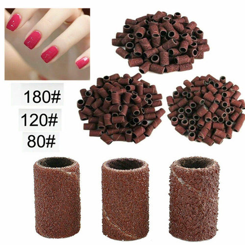 100PCS Manicure Pedicure Sanding Bands 80# 120# 180# Nail Drill Replacement Bits-jargod