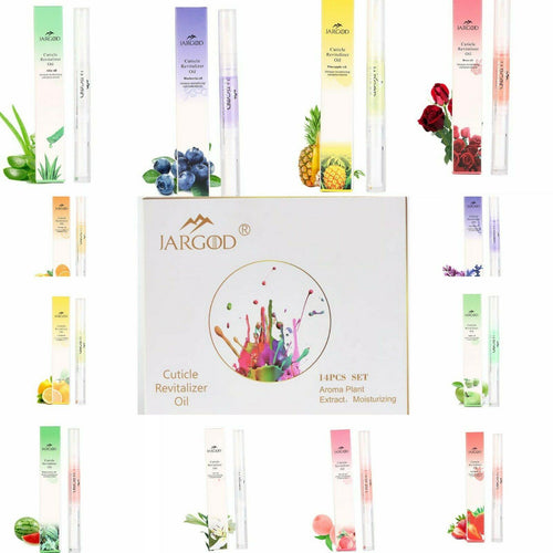 Jargod 14 pcs Gift Set Cuticle Revitalizer Oil Pen Nail Art Care Manicure Nutrition Treatment - JARGOD