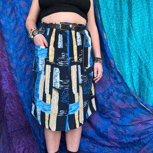 Patch Doodle Print Midi Skirt