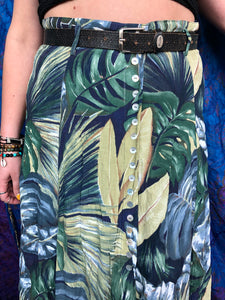 Tropical Leaf Button Up Skirt