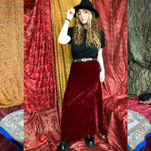 Load image into Gallery viewer, Deep Red Velvet Maxi Skirt