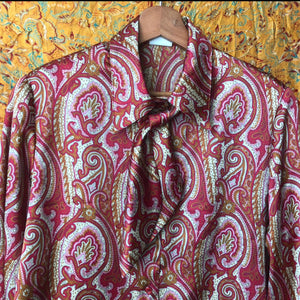 Paisley 70's Shirt with Bow
