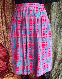 Check and Paisley Pleated Midi Skirt