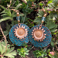 Load image into Gallery viewer, Layered Sunflower Dangle Earrings