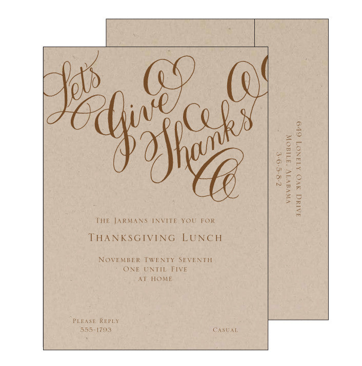 Let's Give Thanks Invitation
