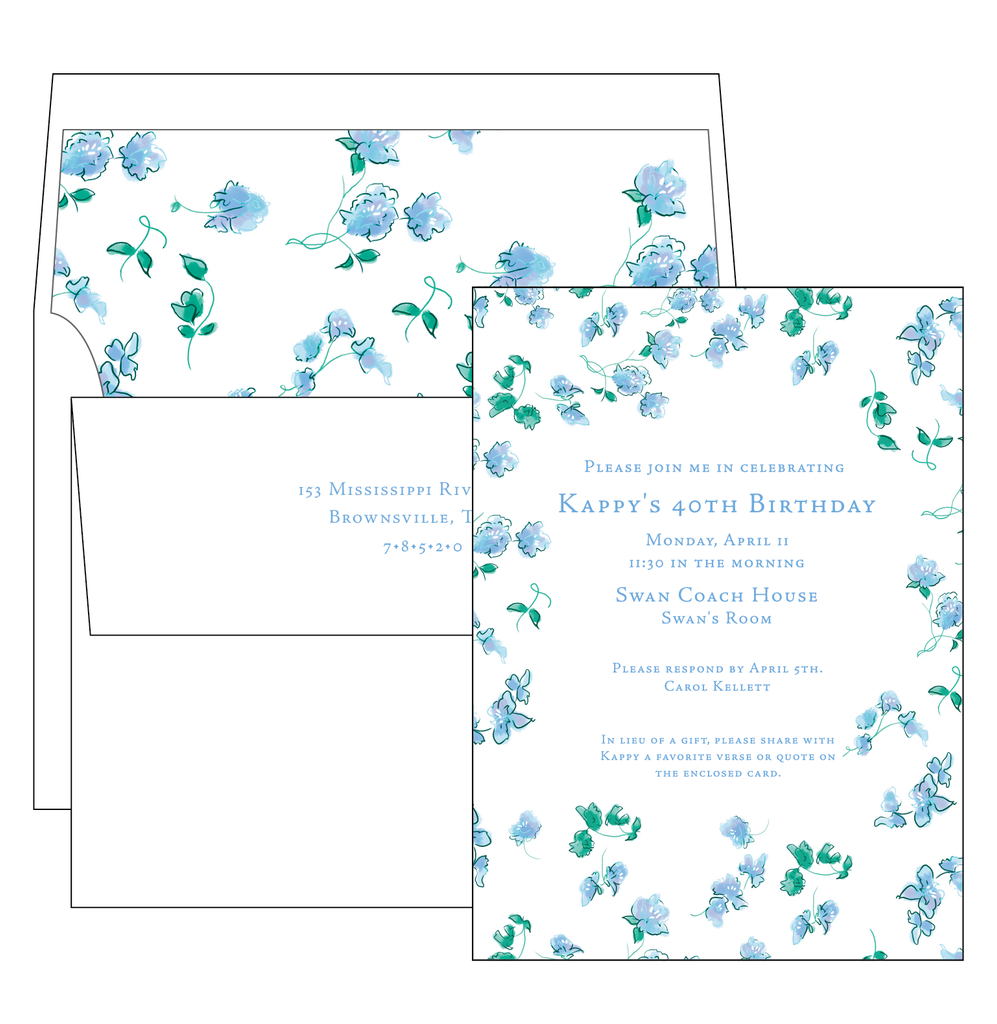 Wispy Flowers Invitation