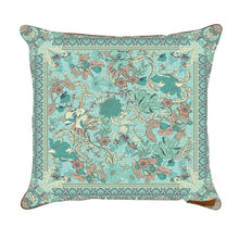 Load image into Gallery viewer, A Crystal_forest_dreamy_pastel_sea foam_blue_floral print_cushion_cover_wandering_folk_tamworth_campgrounds