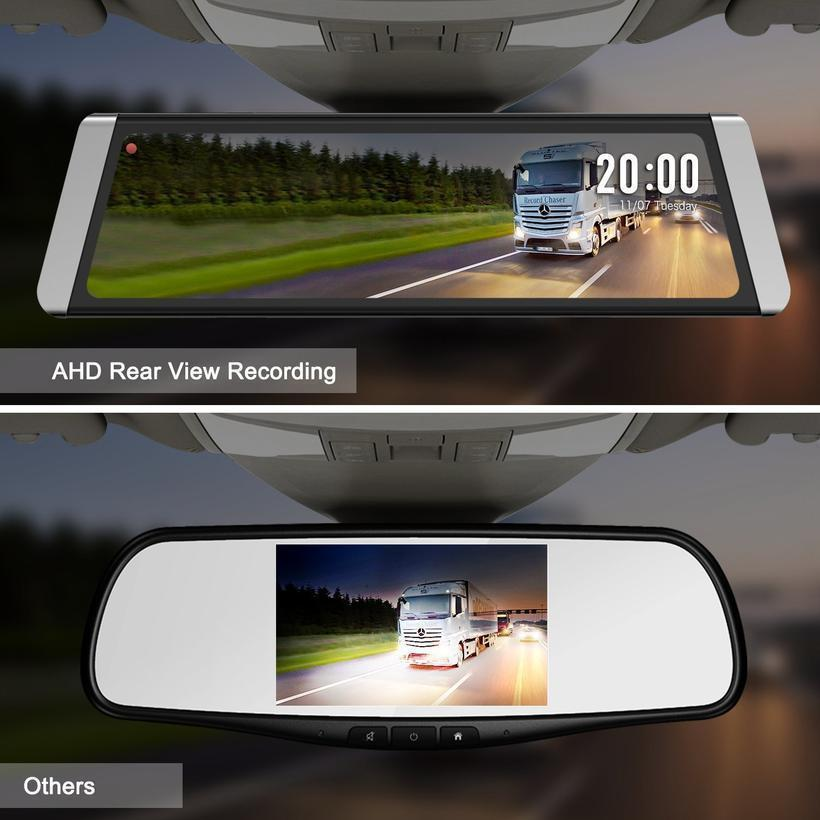 "10"" Full Touch Screen Stream Media Dual Lens Mirror Dash Cam ,1296P FHD Front Camera and 720P Rear View Recorder Dash Cam"