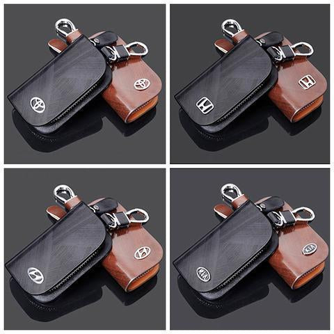 🔥(50% OFF)-Car Logo Leather Wood Texture Car Key Case
