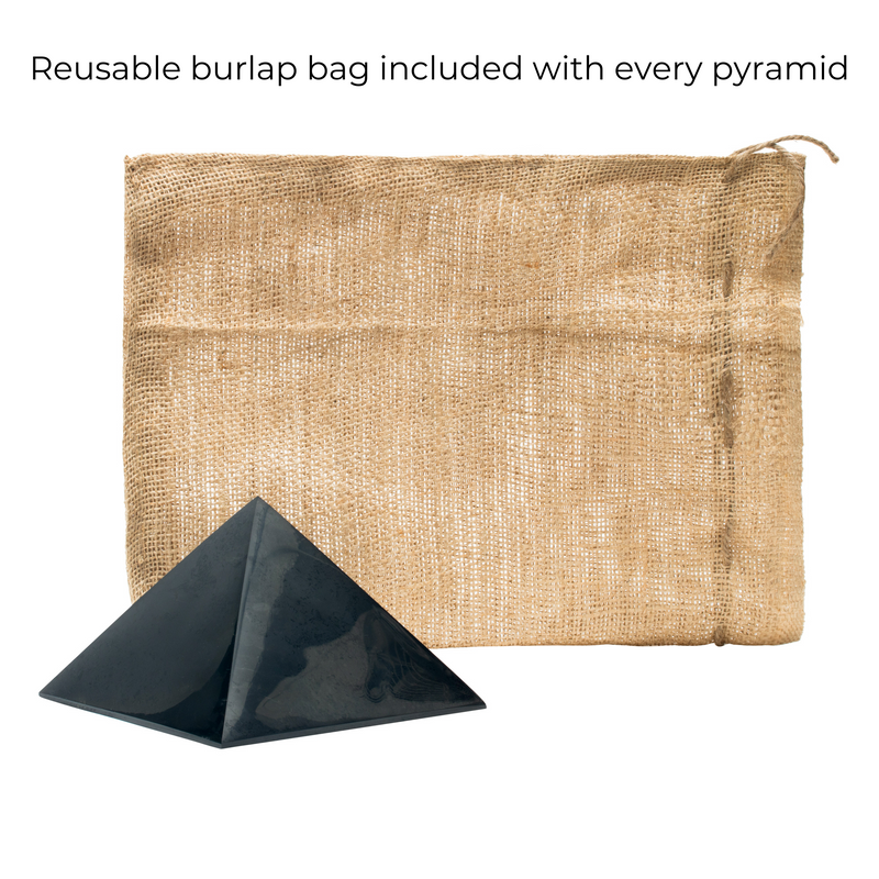Shungite Pyramid with reusable burlap
