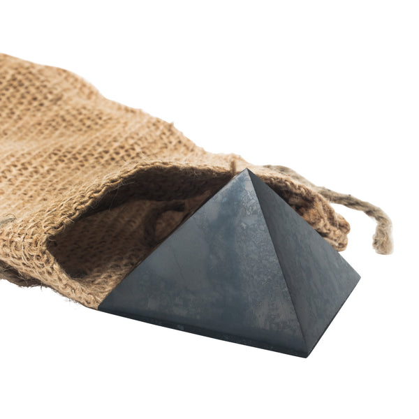 Polished Shungite Pyramid with burlap