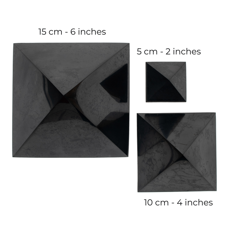 Shungite Pyramids sizes from top