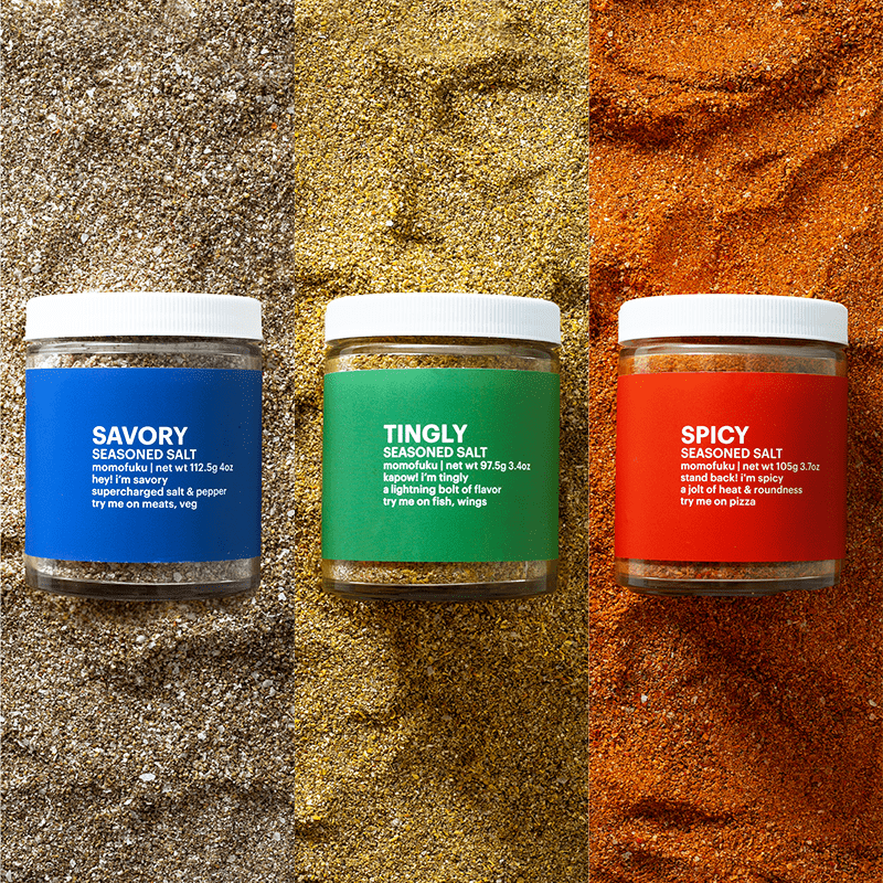 Jars of savory, tingly, and spicy seasoned salt