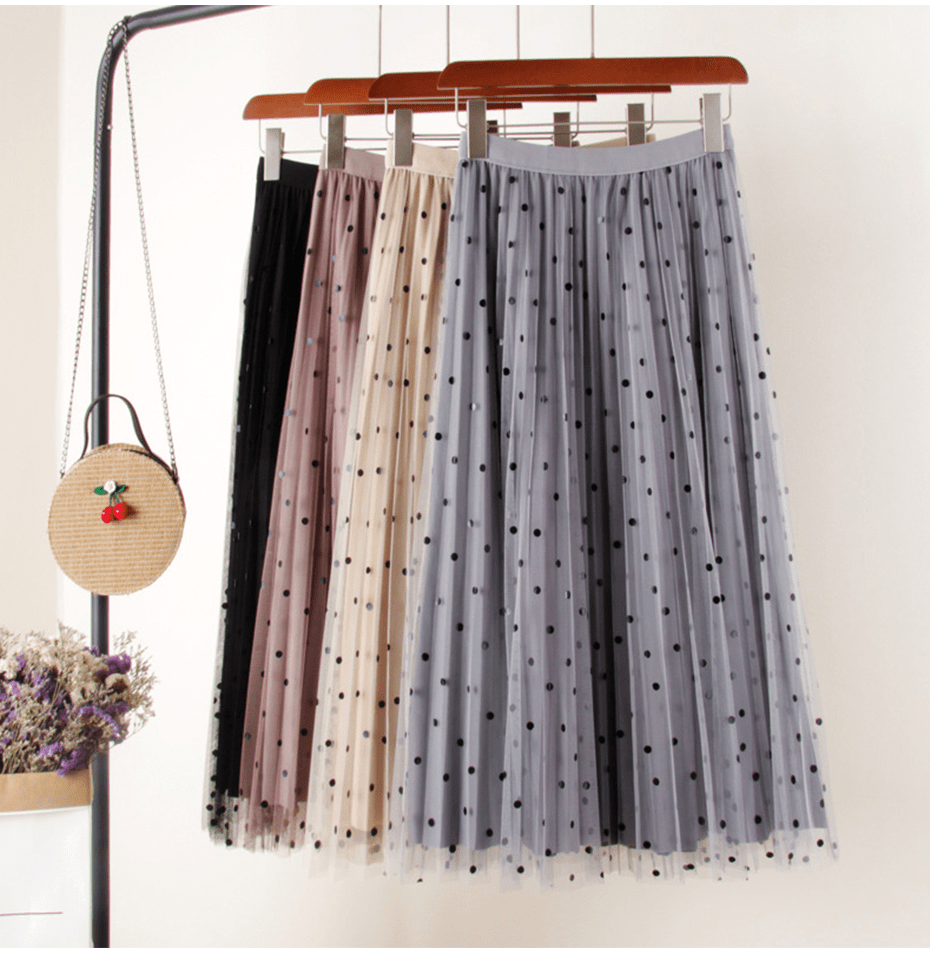 Elegant Polka Dot High Waist Pleated Long Skirt
