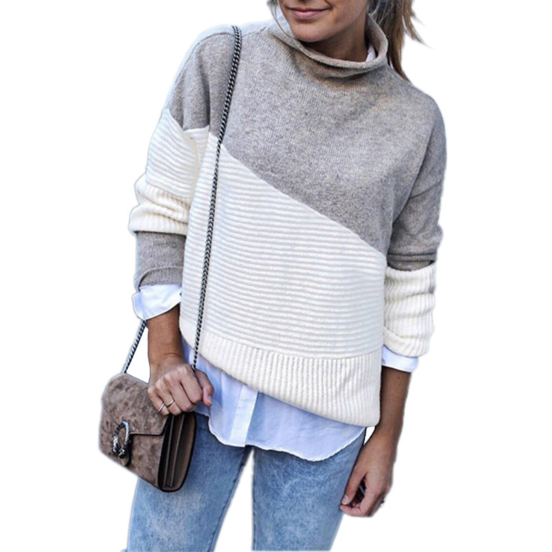 Autumn and Winter Irregular Sleeves Hemmed Half-Turtleneck Contrast Color Pullover Knitwear Sweaters&Jumpers