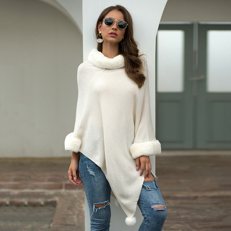 Autumn and Winter New Women's Clothing  Shawl Cape Fur Collar Solid Color Fur Ball Sweater Sweaters&Jumpers