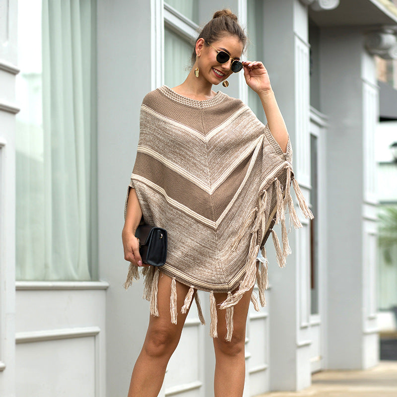 Autumn and Winter   Tassel Cape and Shawl Geometric Color-Block Crew Neck Pullover Sweater for Women  Sweaters&Jumpers