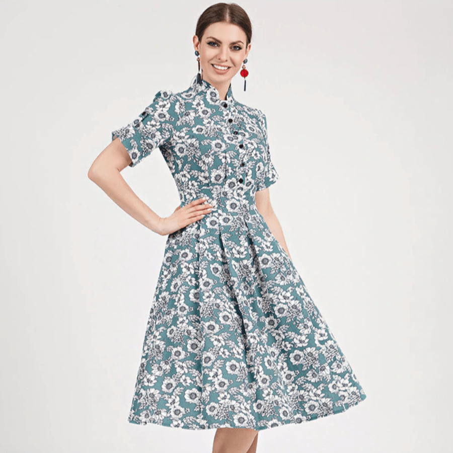ELEGANT SHORT SLEEVE STAND COLLAR A-LINE DRESS