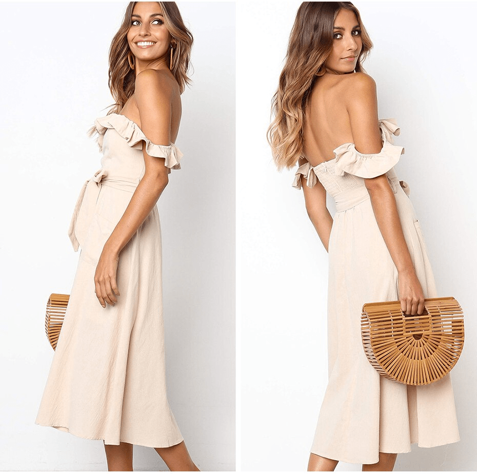 ELEGANT OFF SHOULDER STRAPLESS COTTON DRESS | SRIMOYEE FASHION WORLD