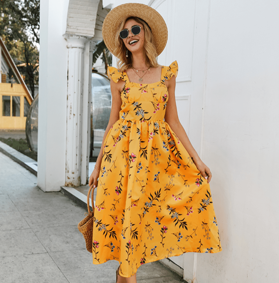 SPAGHETTI STRAP FLORAL PRINTED SLEEVELESS A-LINE DRESS