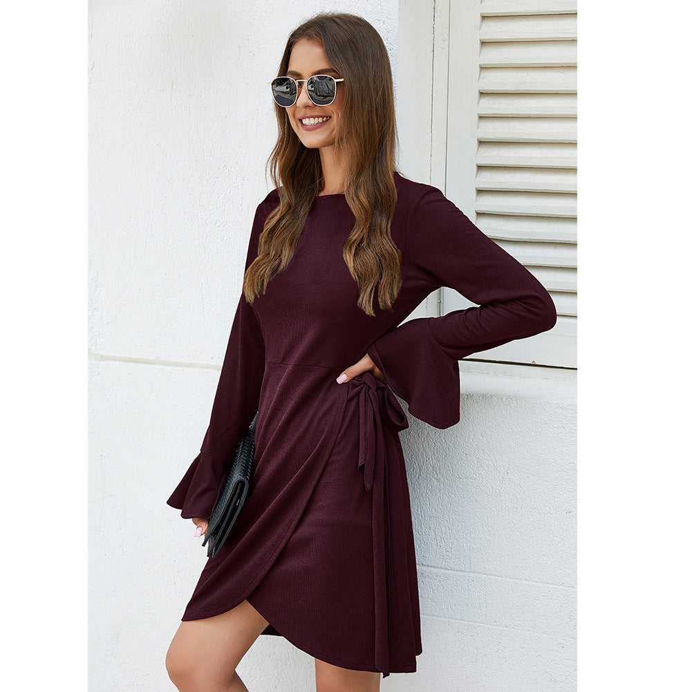 Hot Selling Product Knitwear for Autumn and Winter Sexy Solid Color Dress