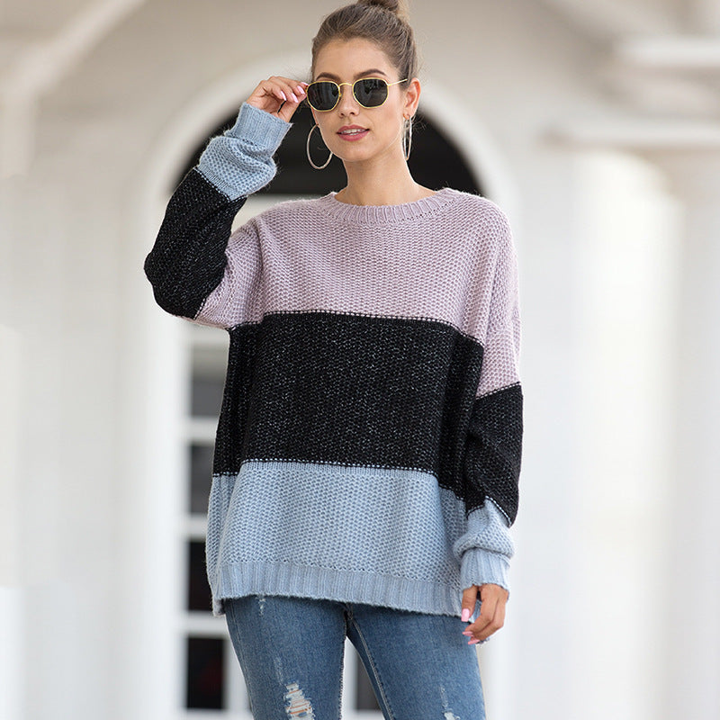Autumn and Winter New  Fashion Striped Colored Pullover Sweater Women's  Coarse Yarn Sweater