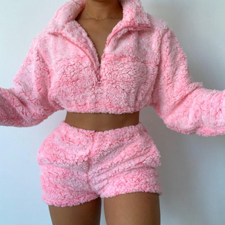 Glamaker Faux fur 2 piece suit Pink women sexy crop top and shorts Furry casual zipper long sleeve autumn winter 2020 new
