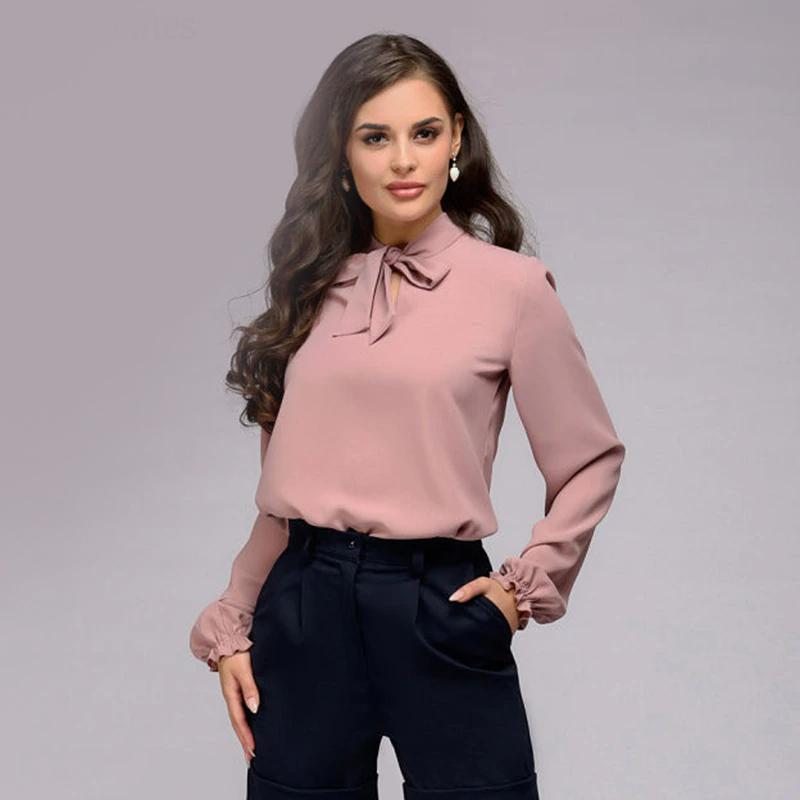 Elegant Bow Tie Long Sleeve Chiffon Vintage Tops