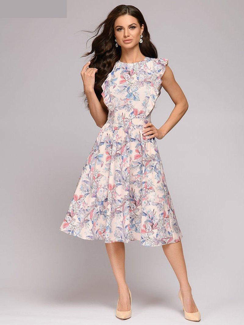Fresh Print Fit And Flare Cap Sleeve Round Neck A-line Dress