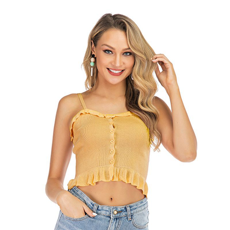 Pleated Ruffled Sleeveless Short Camisole Women's Slim Tube Top