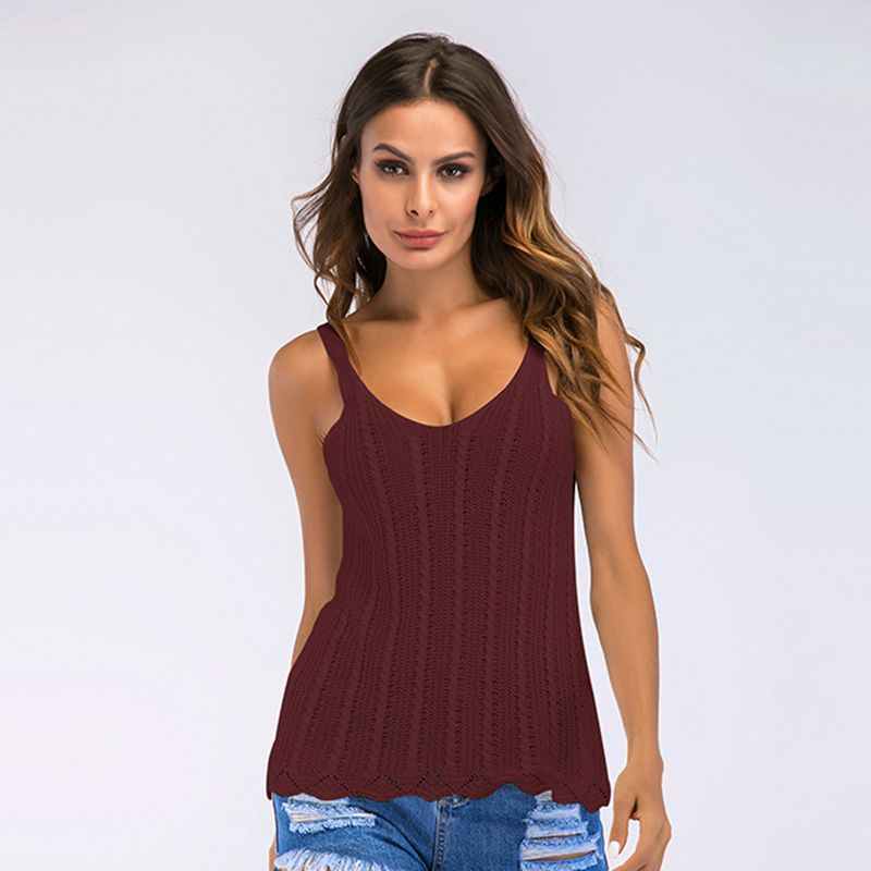 New Hollow Knitted Camisole Women's Sexy U-Shaped Collar All-Matching Sleeveless Base Top