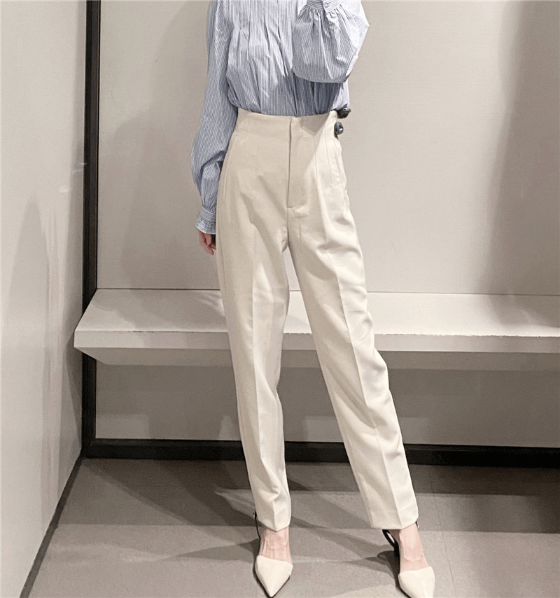 PLEATED HIGH WAIST SOLID HAREM FULL LENGTH PANTS | SRIMOYEE FASHION WORLD