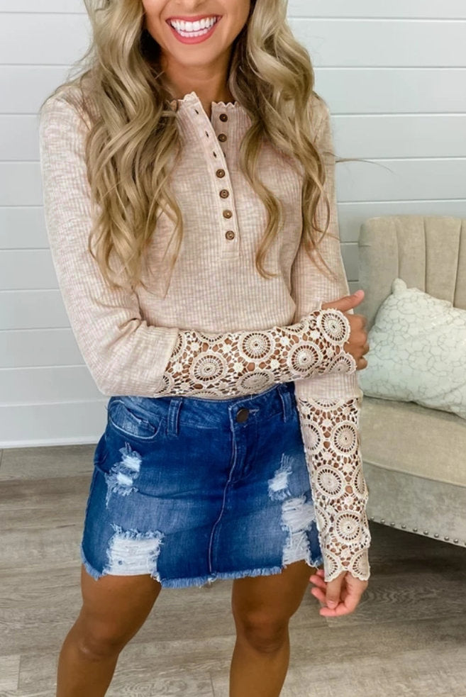 Autumn  Top Sexy Solid Color Hollow Button Lace Lace-Collared Blouse