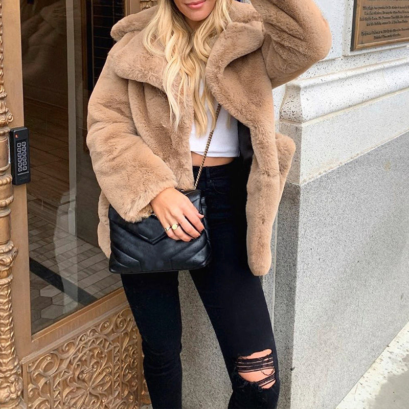 Simplee Fashion turndown collar corduroy coats jackets Faux fur single-breasted women parkas Casual female short khaki winter coat