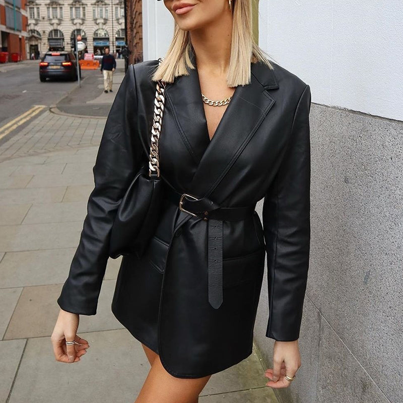 Black Faux Leather Jacket Single breasted lapel pocket long sleeve leather High street fashion winter coat 2020 new