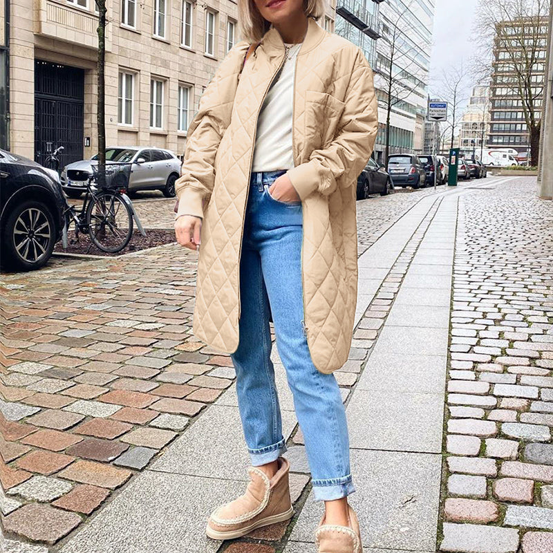 Long straight winter coat with rhombus pattern Casual office ladies overcoat women Khaki long sleeves zipper outerwear
