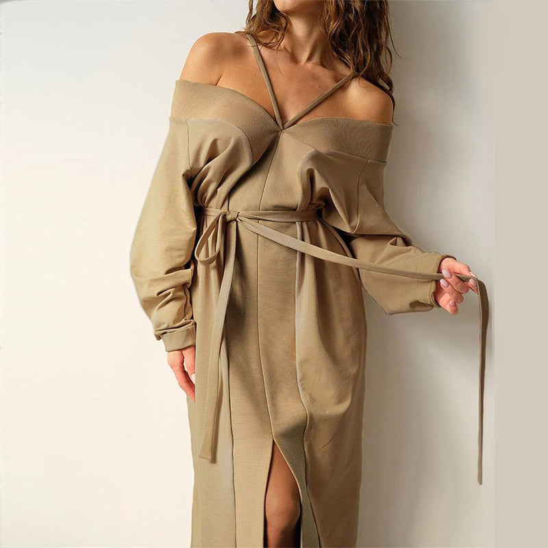 Sexy V-neck women's straight tube dress Patchwork lace up Khaki dress High street fashion ankle skirt Home dress 2020