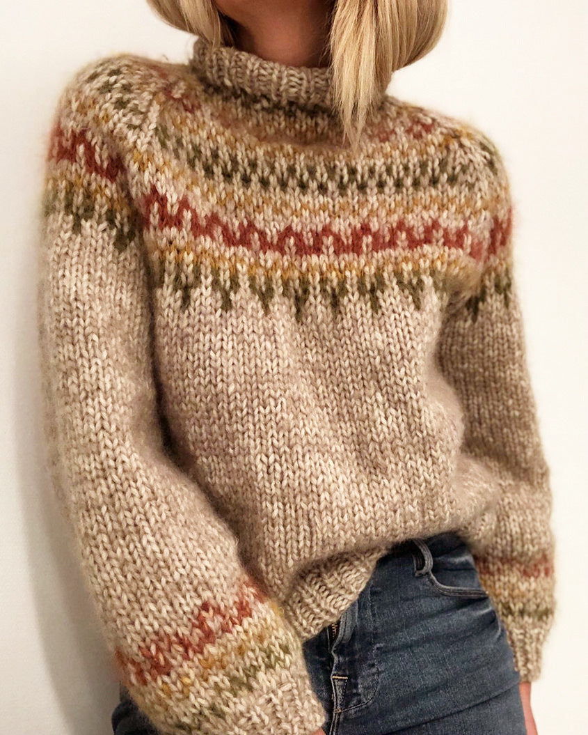 Winter Sweater Half Turtleneck Pullover Straight Printed Unisex Style Sweater