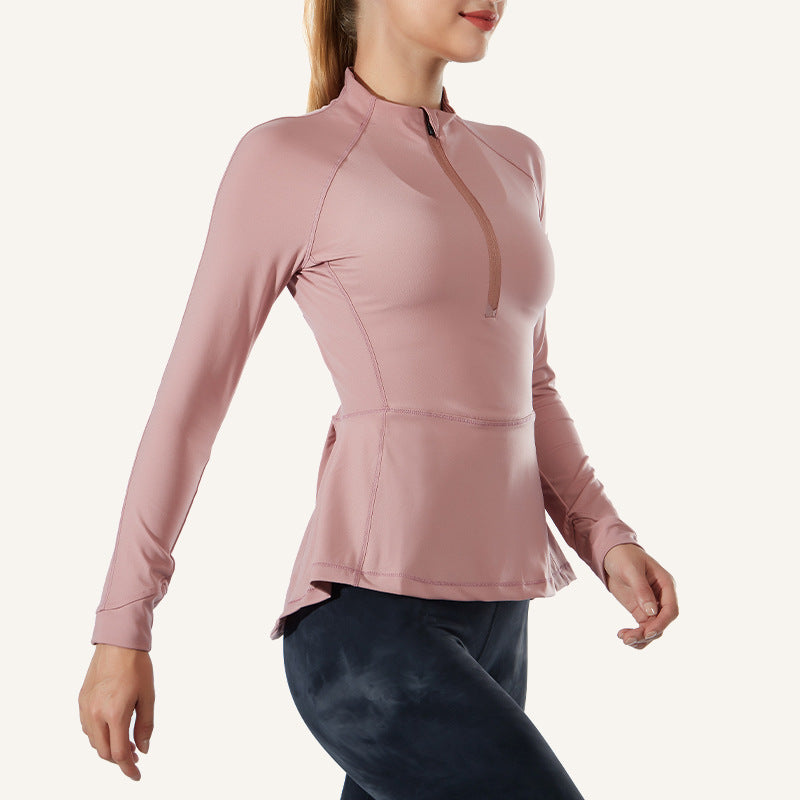 Nylon Half Zipper Yoga Jacket Yoga Clothes Women's Autumn and Winter Slimming Waist-Controlled Long Sleeves Tight Quick-Drying Fitness Clothes