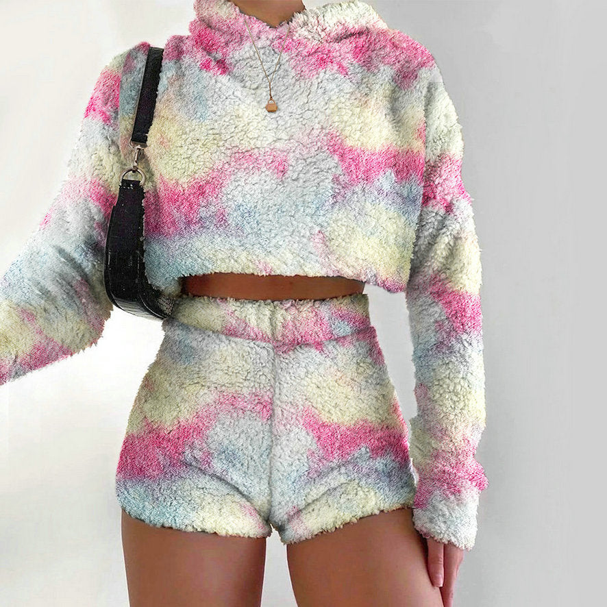 Winter Plush Suit Hooded Pullover Tie-Dyed Flannel Short Suit Pajamas
