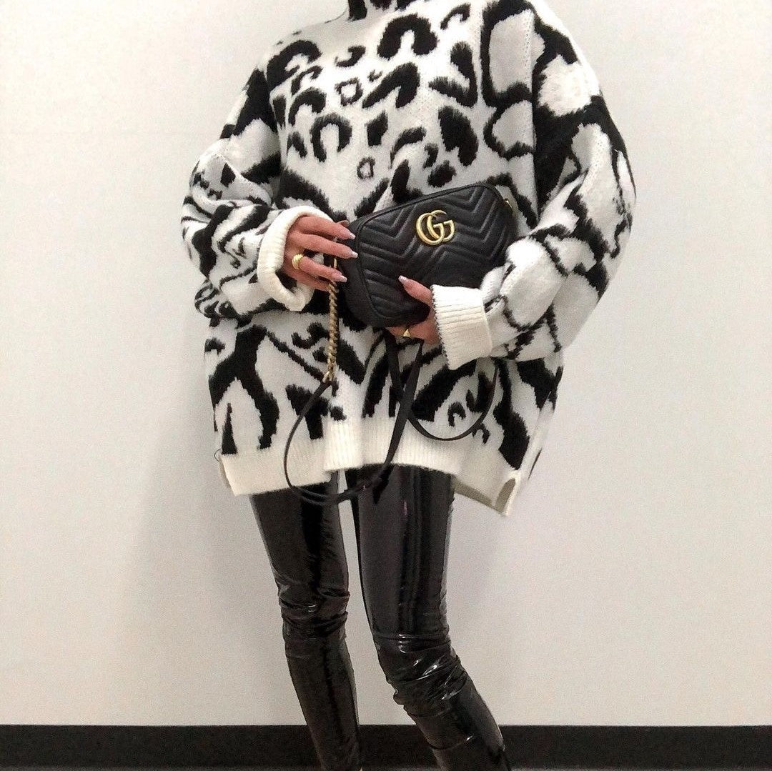Simplee Black white texture loose women's sweater Winter warm long sleeve Pullover High street style knitted sweater 2020 new