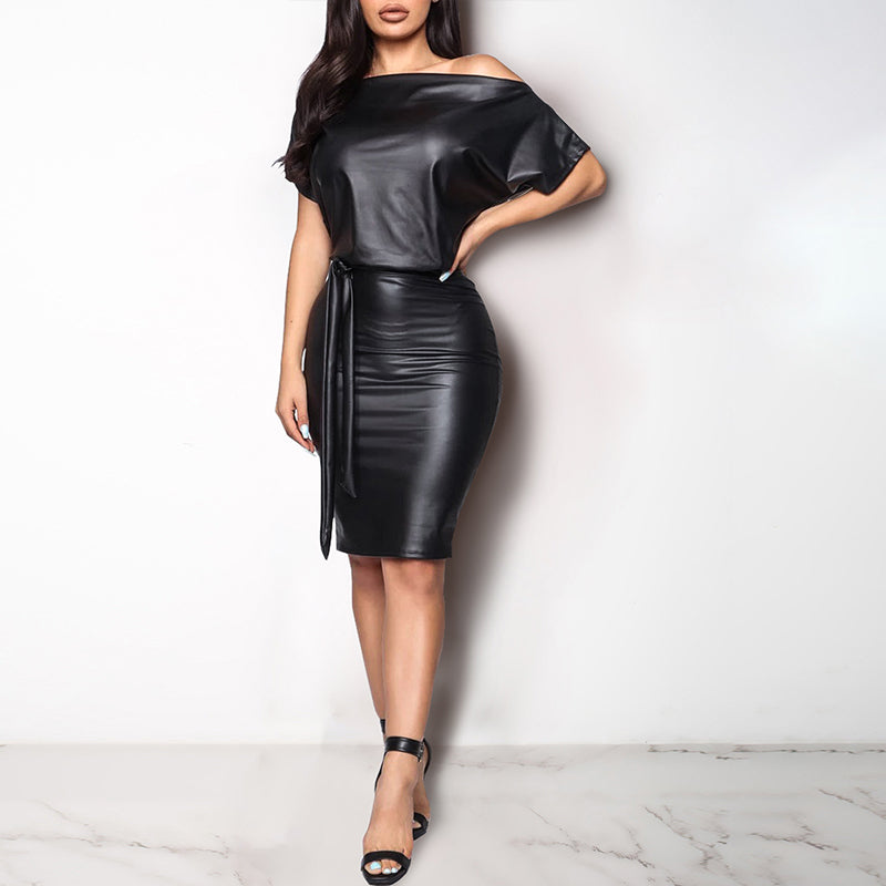 Glamaker Lace up midi dress women Off shoulder short sleeve black pu leather dress female Sexy nightclub party dress plus size