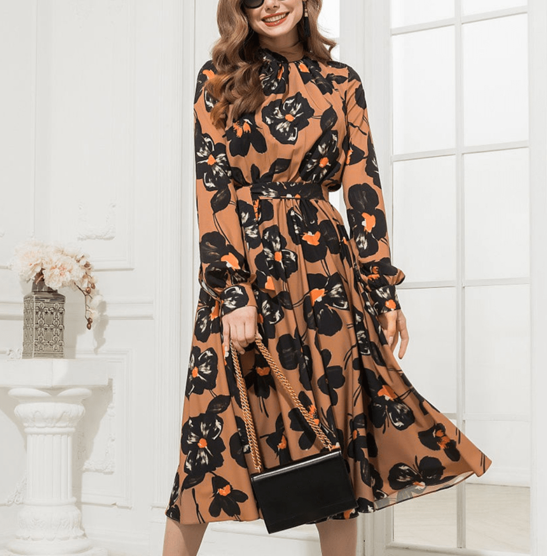 NEW ELEGANT CASUAL TURTLENECK A LINE LONG SLEEVE PRINT DRESS