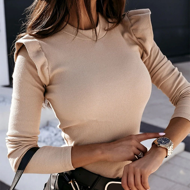 Casual Ruffle women's sweater Slim khaki round neck knitted pullover High street fashion cosy sweater winter 2020 new