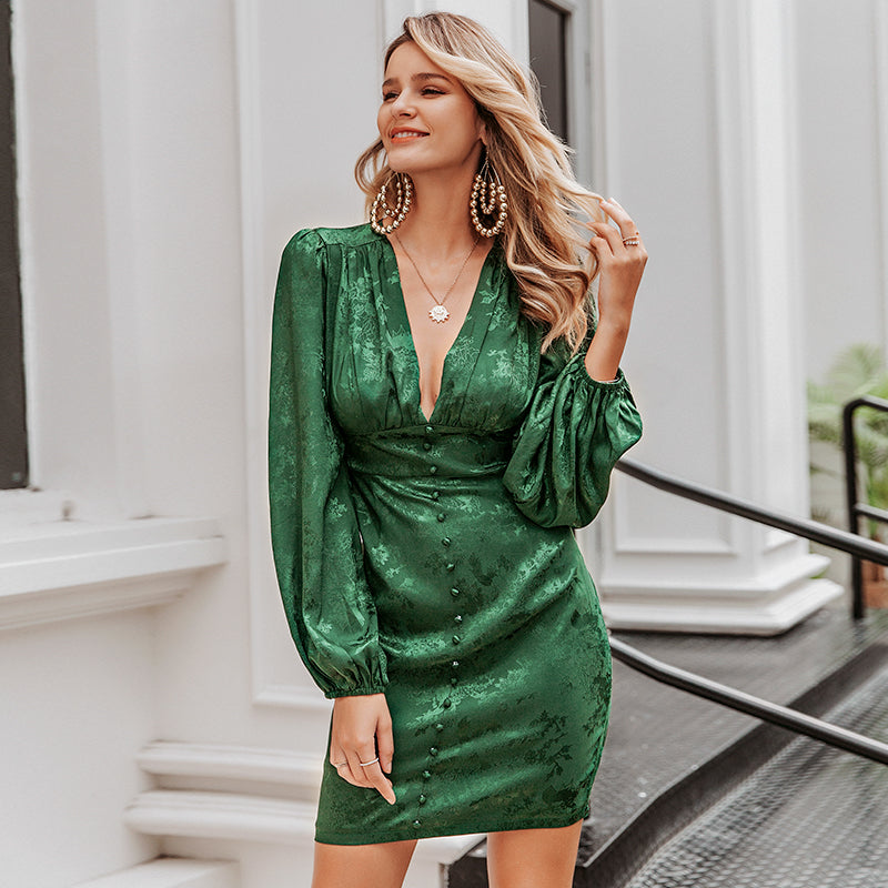 Simplee Sexy v-neck short party dress Lantern single breasted a-line mini dress Green ribbon ladies streetwear long sleeve dress