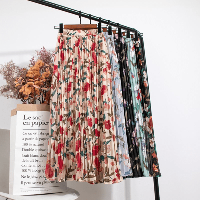 Floral Print Boho High Waist Pleated Chiffon Skirt