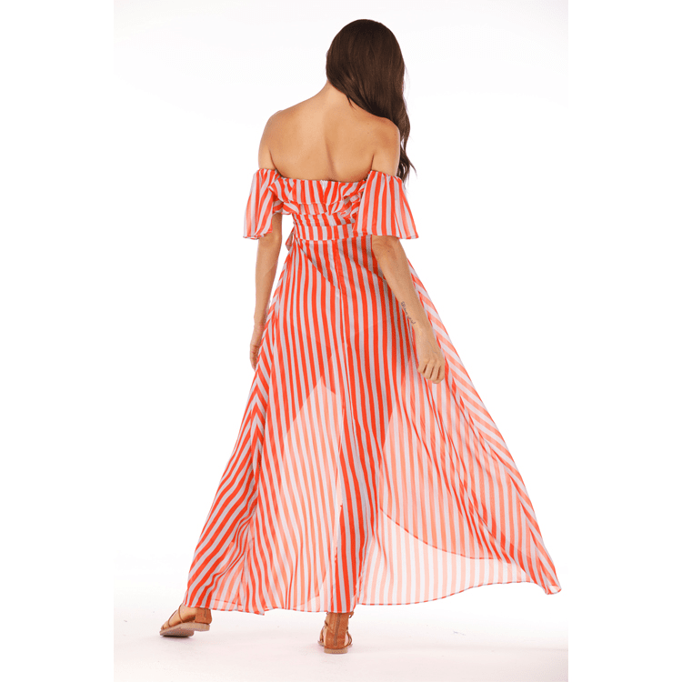 STRIPED RUFFLE OFF SHOULDER HIGH WAIST BEACH LONG DRESS
